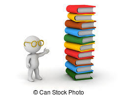 3d character with gles and books