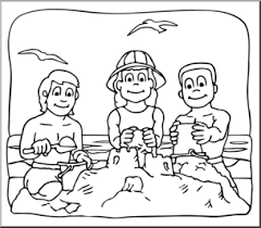 kids at the beach clipart black and white. Unique Beach Clip Art Kids At The Beach Bu0026W I Abcteachcom  Preview 1 On Kids The Clipart Black And White D