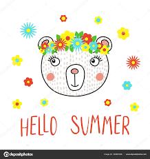 手描きの花とテキストこんにちは夏 ベクトル イラストかわいい面白いクマ