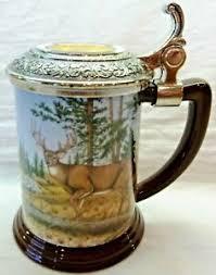"Franklin Mint-Rick Fields, 10-Point Buck-Collector Tankard-Lidded Stein, 5""  Tall | eBay"