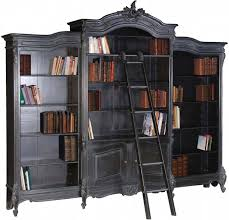 Reproduction Bedroom Furniture Moulin Noir Library Bookcase And Ladder Ch2641 B French