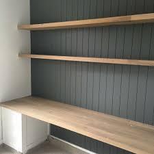built in desk. VJ paneling, grey, white colour scheme