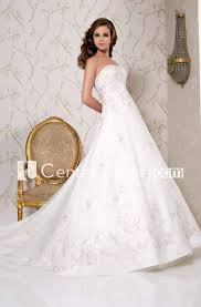 Floor Length Strapless Appliqued Satin Wedding Dress With Chapel Train And Lace Up
