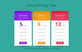 Pricing Template Colored Pricing Table Flat Responsive Widget Template