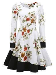 Vintage Dresses White L Vintage Floral Print Color Block Fit And