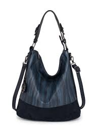 anna grace london faux leather hobo bags for women navy with plain texture metal workin stan sanaulla