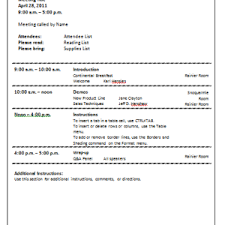 Office Meeting Agenda Template Sample With Additional Instructions ...