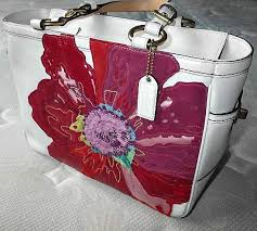 Coach Poppy Flower Floral White Red Leather Gallery Tote Bag Purse Ltd Ed    eBay