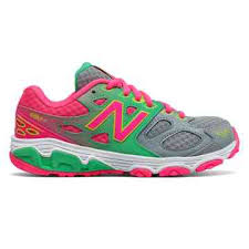 new balance girls shoes. new balance 680v3, grey with pink glo \u0026 lime girls shoes n