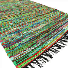 green colorful decorative chindi woven bohemian boho rag rug 3 x 5 ft