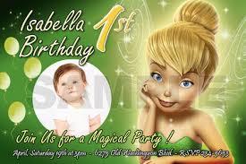 Tinkerbell Invitation Tinkerbell Fairies Birthday Party Invitation Photo 1st Invite Card 10 Designs