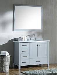 ariel cambridge single 43 inch modern bathroom vanity set with oval sink on right grey
