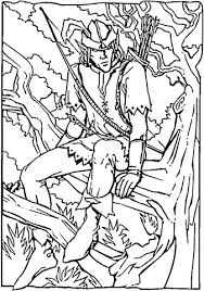 Small Picture Robin Hood sitting on a tree branch coloring page Free Printable