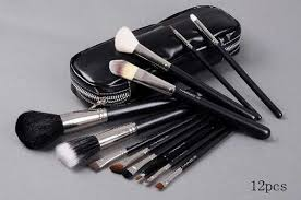 12 pcs makeup brush set full size with faux leather case mac