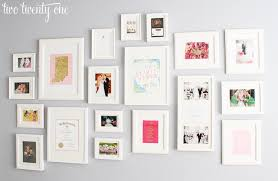 gallery wall with white frames