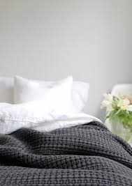 Home is better with U, with Urbanara - charcoal cotton quilt photo ... & Home is better with U, with Urbanara - charcoal cotton quilt bedspread in a  light grey bedroom photo by Hege in France - Add a gorgeous throw to make  your ... Adamdwight.com