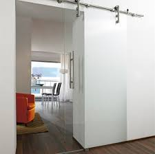 tempered glass panel interior door in silver with handle