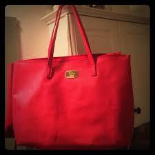 joy mangano handbags nwot large red leather tote bag purse