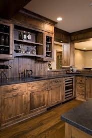 cabin in the wood paneled kitchen