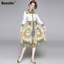 Designer Long Midi Dresses Banulin Autumn Fashion Designer Vintage Shirt Dress Women