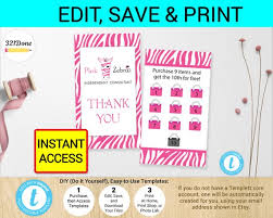 Membership Cards Templates Beauteous Pink Zebra Loyalty Business Cards Template Printable Digital Etsy