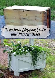 shipping crate furniture. shipping crates turned planter boxes before and after crate furniture