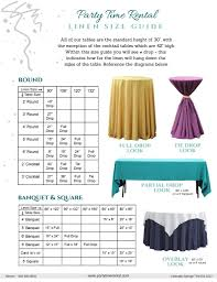 Type Size Chart Size Guides Tips Party Time Rental