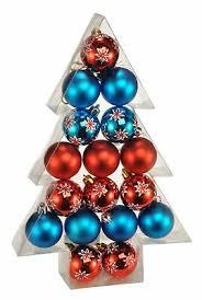 17x Weihnachtskugeln In Rot Blau Aus Kunststoff