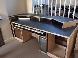 recording studio furniture custom built maple desk with blue denim top studioracks