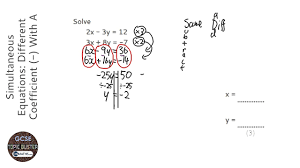 simultaneous equations diffe coefficient with a negative answer grade 6 gcse maths
