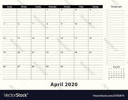 Business Pad Design Vector April 2020 Monthly Business Desk Pad Calendar