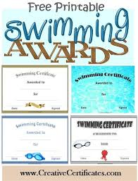 Free Printable Swimming Certificates And Awards Swim Banquet Ideas