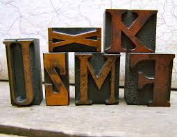 vintage letterpress printers blocks small