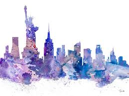new york city skyline painting new york by watercolor girl