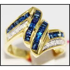 stunning diamond gemstone 14k yellow gold blue sapphire ring rr024