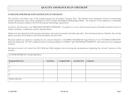 Quality Assurance Plan Example Quality Assurance Format Rome Fontanacountryinn Com