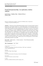 Pdf Social Entrepreneurship An Exploratory Citation Analysis
