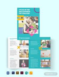 Play School Bi Fold Brochure Template Word Psd