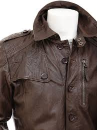 mens brown leather trench coat battledown side