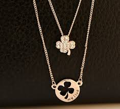 free gold plated hollow four leaf clover and crystal inset shamrock pendant necklace