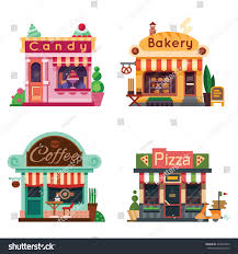 Set Of Nice Shops Different Showcases Bakery Candy Store Pizza