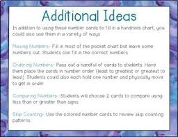 Hundreds Pocket Chart Replacement Cards Pocket Chart Number Cards To 180