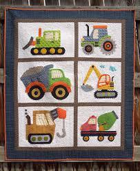 little boy quilt with all applique construction vehicles ... & little boy quilt with all applique construction vehicles Adamdwight.com