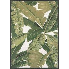 palm lily hunter green ivory 4 ft x 6 indoor tree outdoor rug n