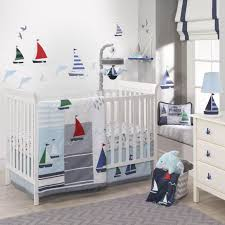 lambs ivy regatta 3 piece crib bedding set blue gray white aquatic