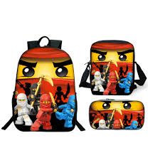 3Pcs/Set Lego Ninjago School Bag For Boys Girls Lego Movie Cartoon Backpack  Children School Set