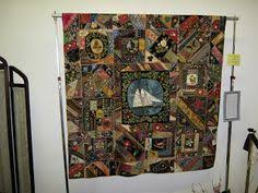 Circa 1880, Victorian Crazy Quilt. Has a number of political silk ... & Circa 1880, Victorian Crazy Quilt. Has a number of political silk ribbons  including an American flag, and ribbons for Harrison & Morton, and Harris… Adamdwight.com