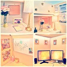 Ideas For Cubicle Decoration In Office Pink And Gold Cubicle Decor