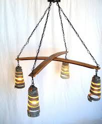 custom made stave intersect barrel stave and ring chandelier