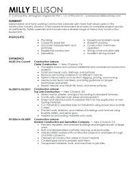 Construction Resume Samples Construction Resume Example Construction
